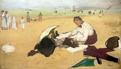 Beach scene: little girl having her hair combed by her nanny, c.1876-77 (oil on paper), 47x82.6 cm