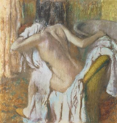 Woman drying herself, c.1888-92 (pastel), 103.8x98.4 cm