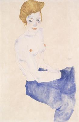 Seated blue nude, 1911 (w/c and pencil), 48x31.5 cm