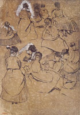 Twelve studies of women in costume of the Second Empire (pen & ink on buff paper), 46x32 cm