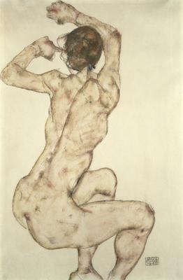 A Crouching Nude, 1915 (pencil and gouache on paper),