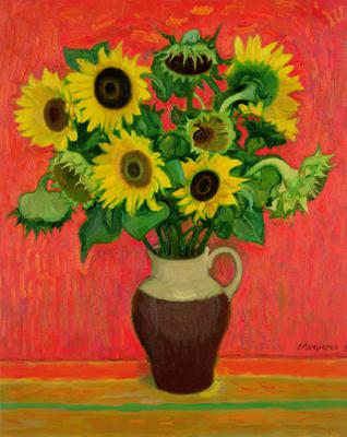 Sunflowers on a Red Background (oil on canvas), 86.3x68.5 cm