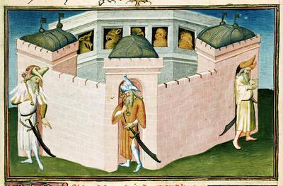 Ms Fr 2810 f.37 The Great Khan's palace, from the Livre des Merveilles du Monde, c.1410-12 (vellum),