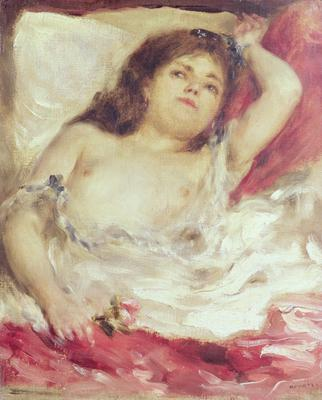 Semi-Nude Woman in Bed: The Rose, before 1872 (oil on canvas), 29.5x25 cm