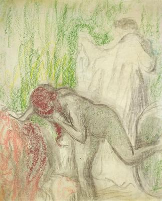 Nude getting out of the Bath (pastel on crayon), 93x78 cm
