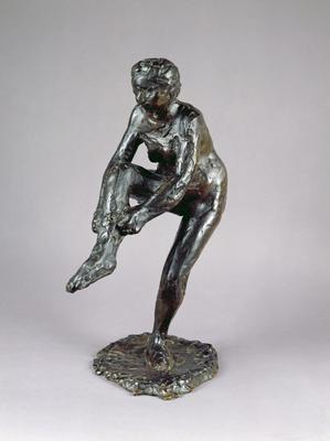 Dancer putting on her Stockings (bronze), height:46 cm