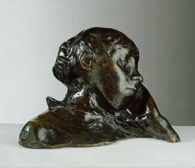 Portrait of a Woman, her head supported by her left hand (bronze), height:12 cm