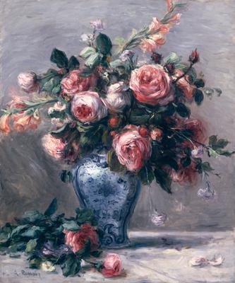 Vase of Roses (oil on canvas), 25.5x20.75 cm