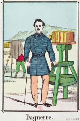 Portrait of Louis-Jacques Daguerre (1787-1851) (colour litho),