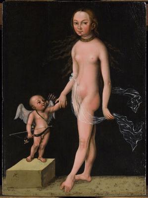 Venus and Cupid (oil on panel), 36.8x26.7 cm