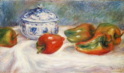 Still life with a blue sugar bowl and peppers, c.1905 (oil on canvas),