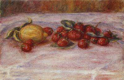 Strawberries and Lemons (oil on canvas),