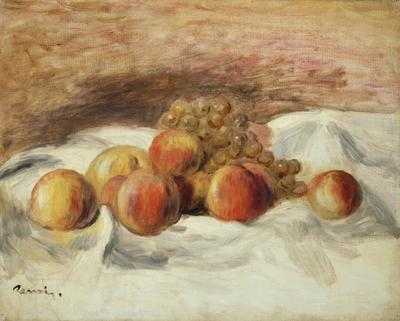 Still life with peaches (oil on canvas), 33x41.5 cm