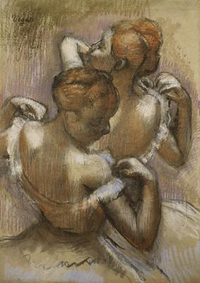 Two Dancers Adjusting their Shoulder Straps, c.1897 (pastel on paper laid down on board),