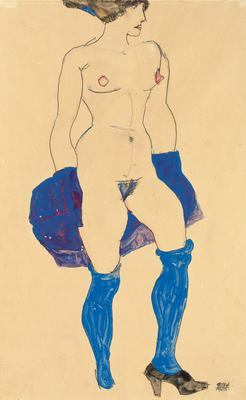 Standing woman with shoes and stockings, 1913 (w/c & pencil on paper), 47.9x32 cm
