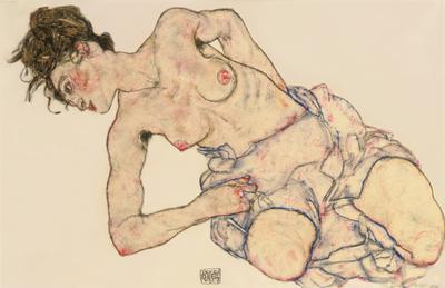 Kneider weiblicher halbakt, 1917 (gouache, black crayon, wash & pencil on paper), 27.3x42.2 cm
