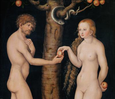 Eve offering the apple to Adam in the Garden of Eden, c.1520-25 (oil on wood) (detail of 407328),