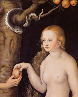 Eve offering the apple to Adam in the Garden of Eden and the serpent, c.1520-25 (oil on wood) (detail of 407328),