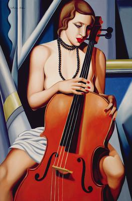 Woman with Cello (oil on canvas),