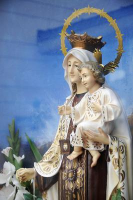 Virgin Mary, Jesus, Madonna, crown, saints statue, Benidorm, Costa Blanca, Provinz Alicante, Spanien, Europa