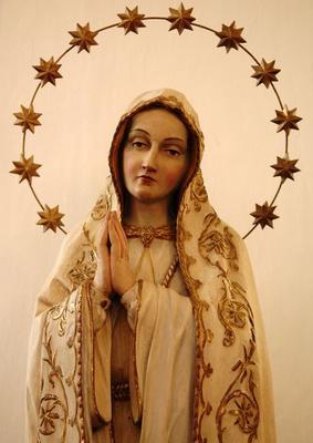 Statue, Virgin Mary, St. Michael's Church, Kallmuenz, Upper Palatinate, Bavaria, Germany, Europe