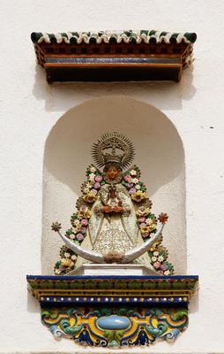 Virgin Mary statue, painted ceramic, El Rocio, Andalusia, Spain