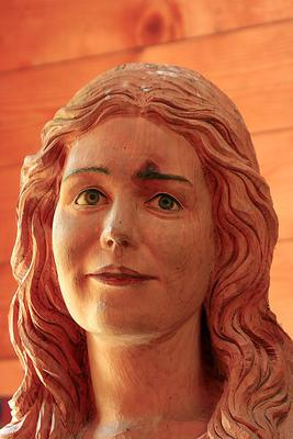 Portrait, effigy, Virgin Mary, carved sculpture made out, living swiss pine, Pinus cembra, part, group Holy Family, swiss pine, Suppanalm, Schoenfeld, Lungau, province Salzburg, Austria