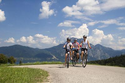 Family with bicycles in the mountains